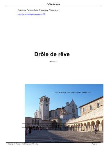 Drôle de rêve - Paroisse Saint Vincent de l'Hermitage