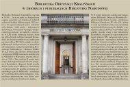 Biblioteka Ordynacji Krasińskich w zbiorach i publikacjach Biblioteki ...