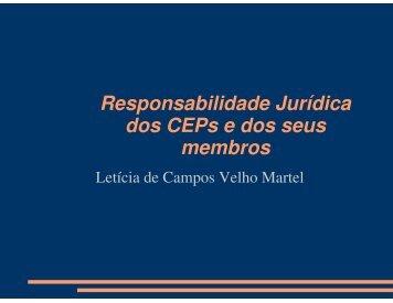 Responsabilidade jurídica dos CEPs e seus membros. - UFSM