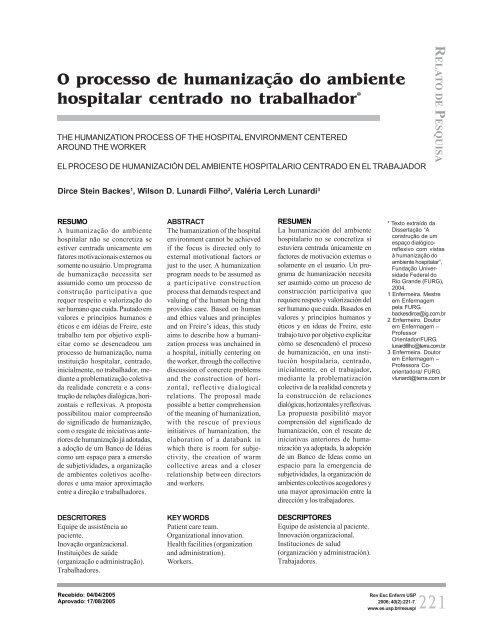 O Processo De Humanização Do Ambiente Hospitalar Scielo