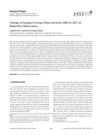 Change of Sunspot Groups Observed from 2002 to 2011 at ...