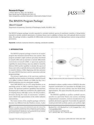 The BINSYN Program Package - Journal of Astronomy and Space ...