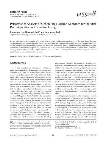 Performance Analysis of Generating Function Approach for Optimal ...