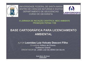 BASE CARTOGRÁFICA PARA LICENCIAMENTO AMBIENTAL - UFSM
