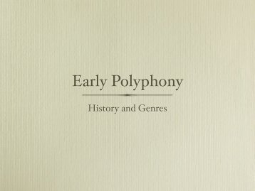 Early Polyphony - Scott Foglesong