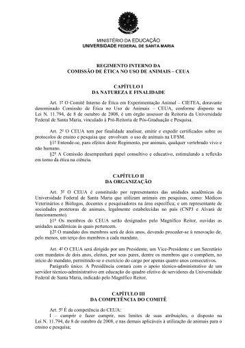 REGIMENTO INTERNO DA COMISSAO DE ETICA NO USO ... - UFSM