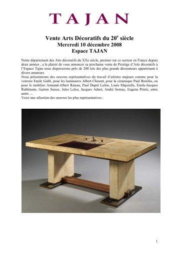Vente Arts Décoratifs du 20 siècle - Tajan