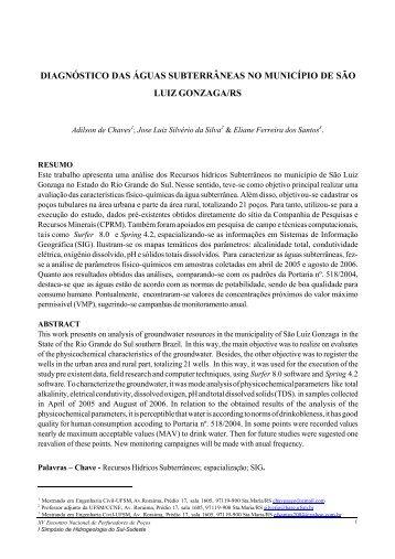 diagnóstico das águas subterrâneas no município de são ... - UFSM