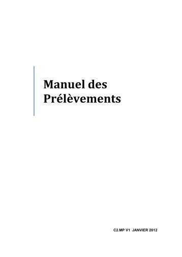 Manuel des Prélèvements - Laboratoire Scheppler Fuino