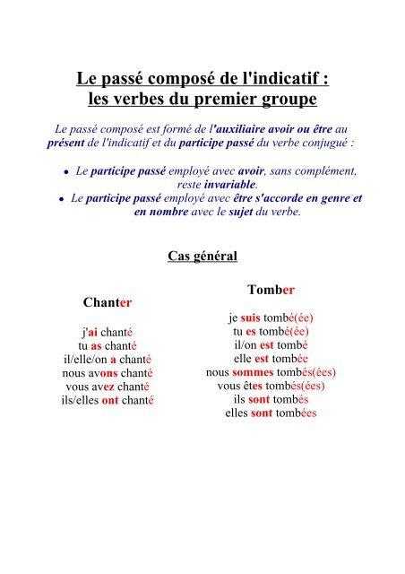 Passe Compose Indicatif Verbes Du 1er Groupe