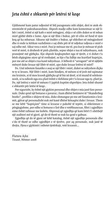 Jeta është e shkurtër për letërsi të keqe - Skanderbeg Books