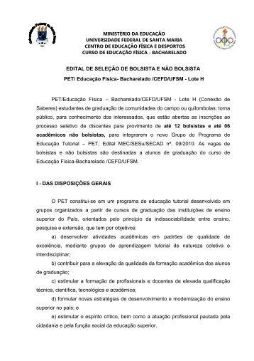 Edital de Seleção de Bolsista e Não-bolsista do Grupo PET ... - UFSM