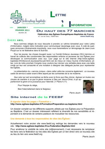 Lettre Info janv-fev 11.pub - Église Protestante Baptiste de Nice