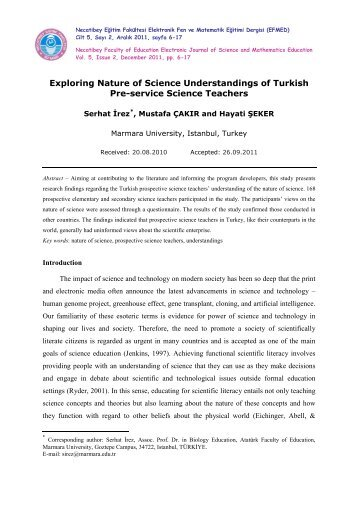 Exploring Nature of Science Understandings of Turkish Pre-service ...