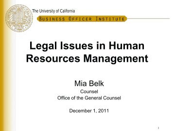 Legal Issues in Human Resources Management (pdf) - University of ...
