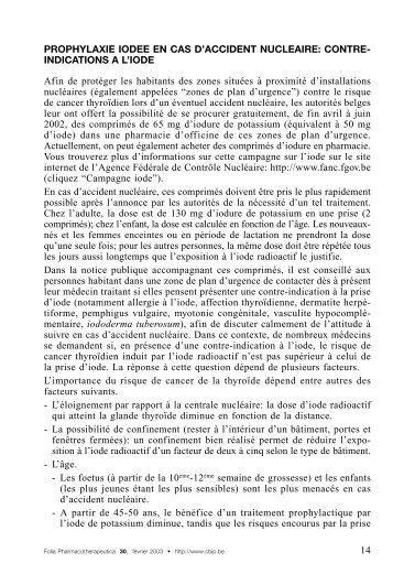 PROPHYLAXIE IODEE EN CAS D'ACCIDENT NUCLEAIRE ... - CBIP