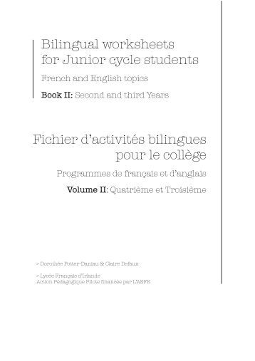Worksheets Bilingual Worksheets 1 free magazines from lettreslfi eu bilingual worksheets for junior cycle students fichier