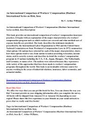 An International Comparison of Workers' Compensation (Huebner ...