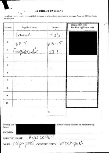 Transactmn code . / - Allowances by MP