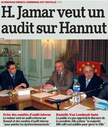 """[La Meuse] : """"Hervé Jamar veut un audit sur Hannut"""""""