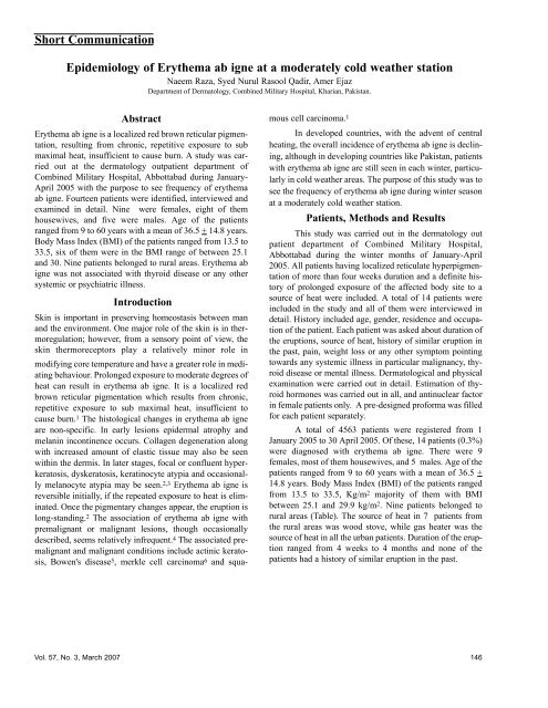 Short Communication Epidemiology Of Erythema Ab Igne At A