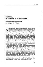 L'officiel, le parallèle et le clandestin ... - Politique Africaine