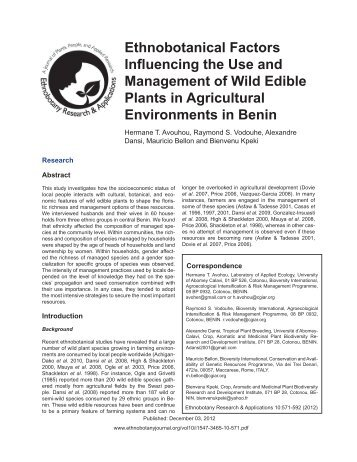 Ethnobotanical Factors In.uencing the Use and Management of Wild ...