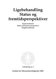 Ligebehandling - status og fremtidsperspektiver - Danish Institute for ...
