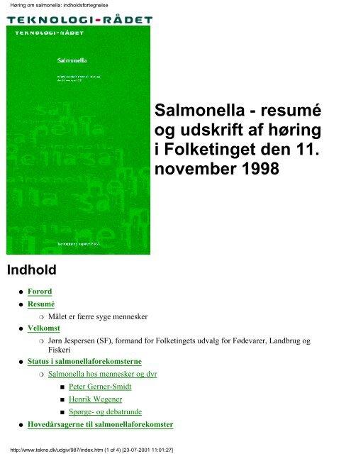 Høring om salmonella: indholdsfortegnelse - Teknologirådet