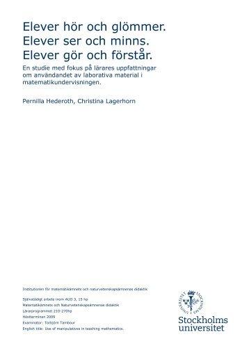 Lärares uppfattningar av laborativa material i ... - Sundbyberg