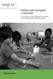 Rapport 378:2012 – Utökad undervisningstid i matematik - Skolverket