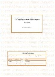 Tal og algebra i indskolingen (1.162kb pdf)