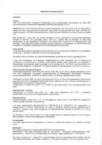 Bestyrelsens årsberetning 2010 - Ansager Boligforening