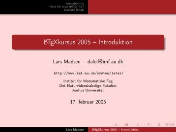 LaTeXkursus 2005 -- Introduktion - puffin