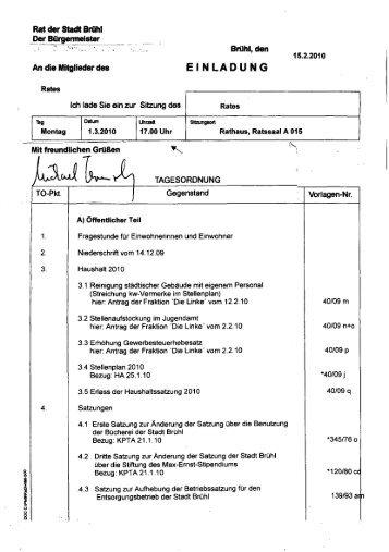 Tagesordnung einschließlich Vorlagen der Sitzung des Rates der ...