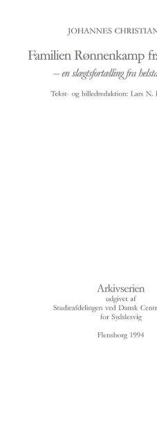 Familien Rønnenkamp fra Flensborg - Studieafdelingen og Arkivet ...