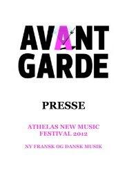 full press documentation here. - Klang Copenhagen Avantgarde ...