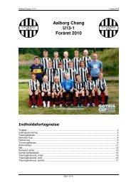 Aalborg Chang U13-1 Foråret 2010 Indholdsfortegnelse