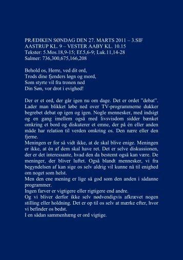 PRÆDIKEN SØNDAG DEN 27. MARTS 2011 - Vester Aaby og ...