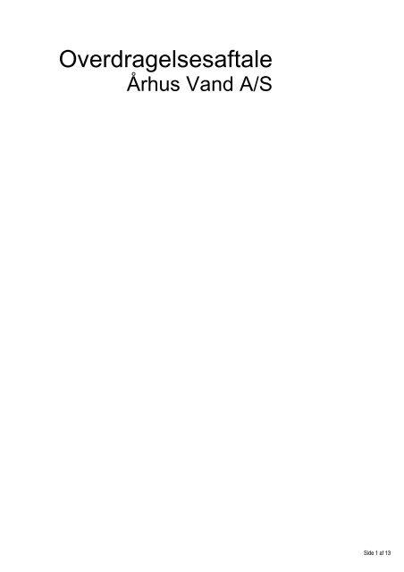 Overdragelsesaftale - Velkommen til Århus Kommune