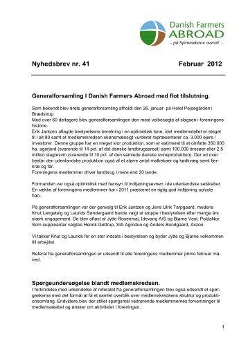 Nyhedsbrev nr. 41 Februar 2012 - Danish Farmers Abroad