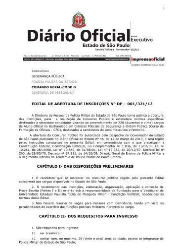 EDITAL DE ABERTURA DE INSCRIÇÕES Nº DP – 001 ... - Concursos