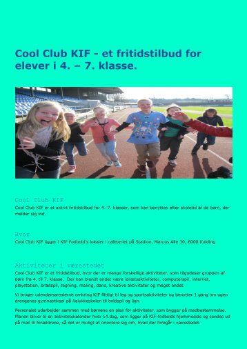Cool Club KIF - et fritidstilbud for elever i 4. – 7 ... - Aalykkeskolen