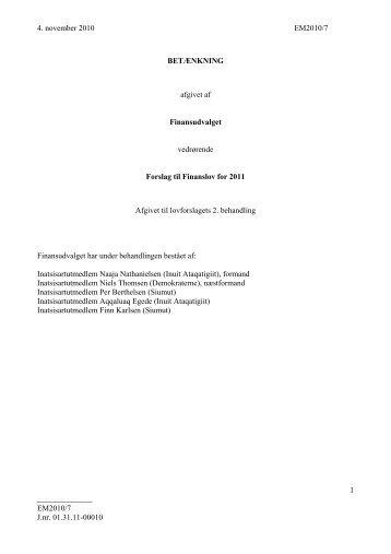 BETÆNKNING FFL11, 2. bhl. - Inatsisartut