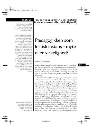 Pædagogikken som kritisk instans – myte eller virkelighed?