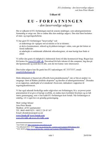 FORFATNINGEN - den læservenlige udgave - EU-ABC