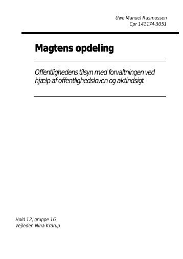 Magtens opdeling (synopse om aktindsigt) - RASMUSSEN / Data