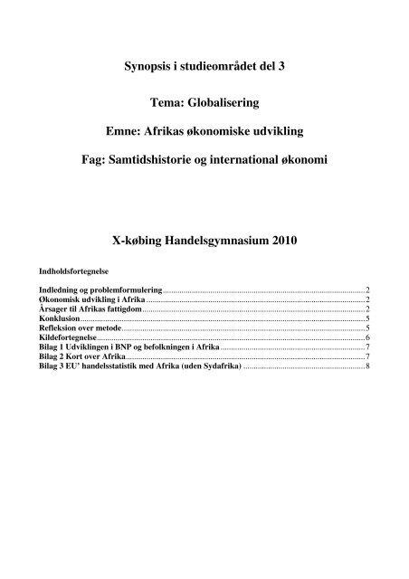at synopsis dansk og historie