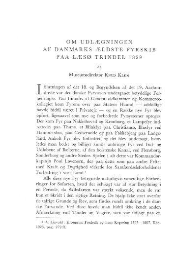 Om udlægningen af Danmarks ældste fyrskib paa Læsø Trindel ...