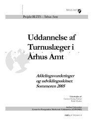 Uddannelse af Turnuslæger i Århus Amt - Center for Medicinsk ...